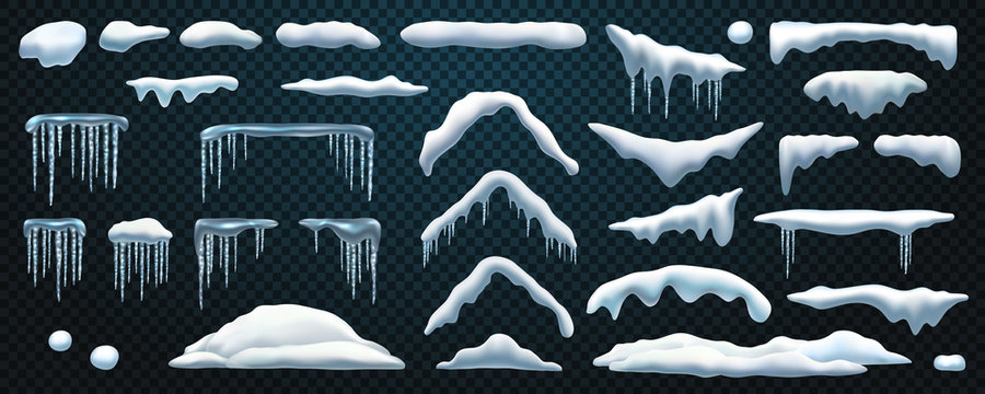 Set of isolated snowdrift and icicle, snow cap and snowball, snowflake decoration or ice template, frost shape and snowfall object, snowbank. Winter season background. Cold new year, christmas