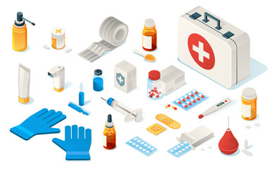 Set of isolated first aid kid tools or items of medical emergency box. Isometric icon for doctor, hospital and clinic. Enema, thermometer, drug, pills, plaster, bandage, gloves, syringe, Healthcare