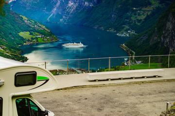 Camper over fjord Geirangerfjord, Norway