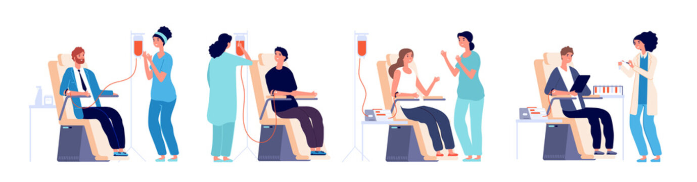 Blood donors. Volunteers man and woman with nurses Donating Blood in hospital. Vector set blood donate, volunteer give donation illustration