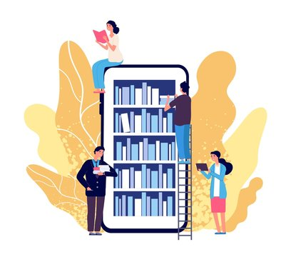 Online library. People reading books. Vector smartphone with reader app. Online book store, library and education flat concept. Illustration education book app, digital bookshelf for students