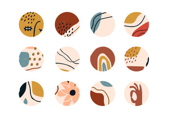 Wall Mural - Set of various vector highlight covers. Abstract backgrounds. Various shapes, lines, spots, dots, doodle objects. Hand drawn templates. Round icons for social media stories. Perfect for bloggers