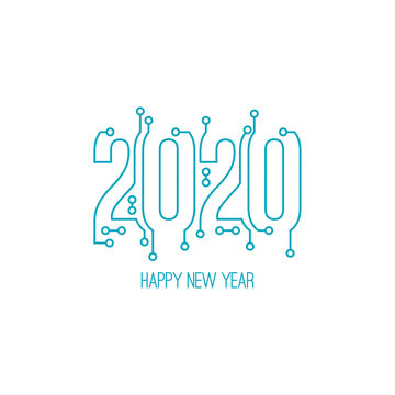 Happy new year 2020 text design with high tech circuit board texture. Vector illustration.