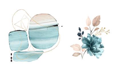 Kwiaty abstrakcyjne w kolorze niebieskim