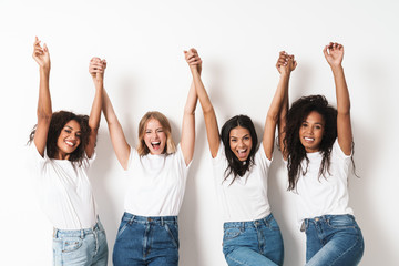 Optimistic cheery young women multiracial friends