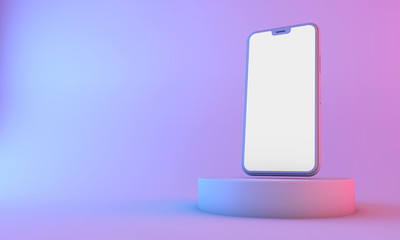 Smartphone mockup with blank white screen with neon lighting. 3D Render
