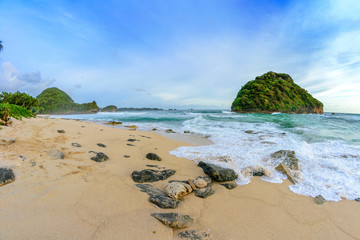 Tropical beach at Malang, East Java, Indonesia