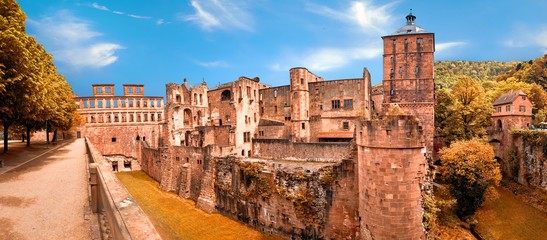 Photo sur Aluminium Con. Antique Ruins of Heidelberg Castle (Heidelberger Schloss in German language) in Autumn with golden leaves. This panoramic image was made in Heidelberg, Germany.