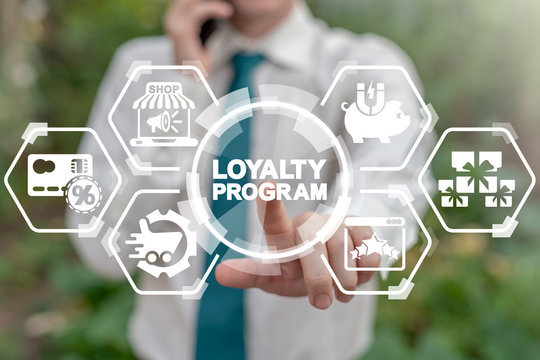 Loyalty Program Shopping Earn Points Return Money concept. Businessman touches loyalty program word's button on virtual screen.