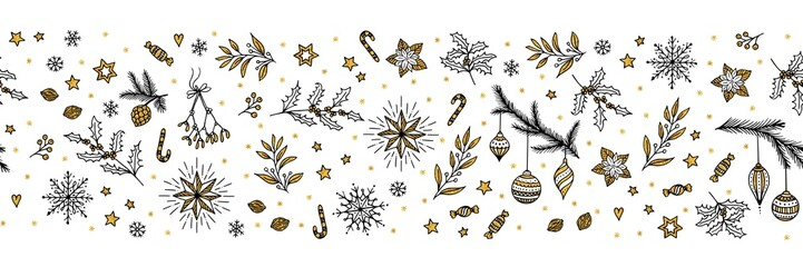 Seamless banner for Christmas with hand drawn decorative elements in black, white and gold