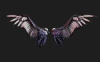 3d Illustration Demon Wings, Black Wing Plumage Isolated on Black Background with clipping path.