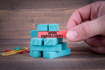 Open Enrollment Concept With Colorful Wooden Blocks