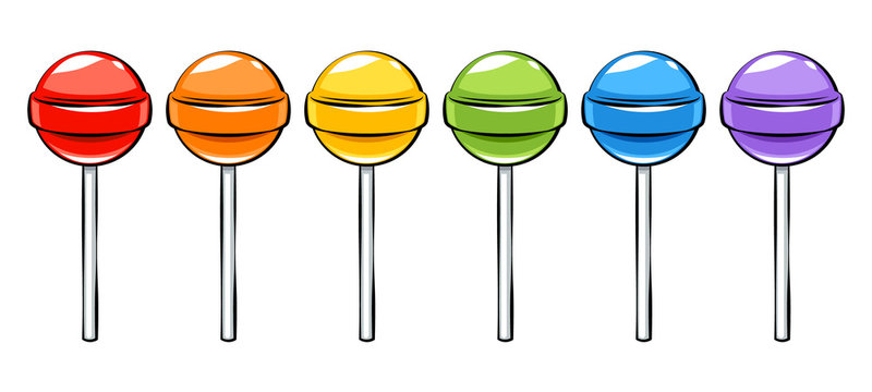 Colorful lollipops candies set in cartoon style.