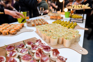 catering miniature food dishes at banquet