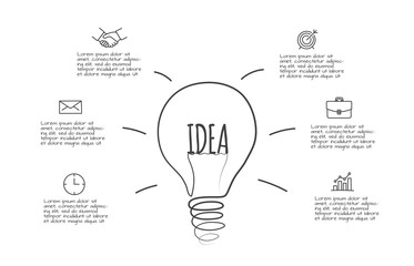 Doodle lightbulb infographic with 6 options. Hand drawn icons. Thin line illustration.