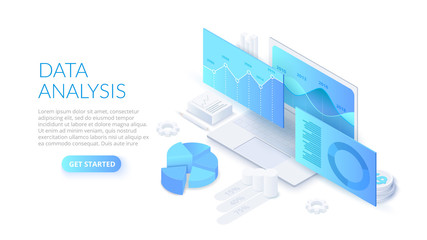 Data analysis design concept with laptop. Isometric vector illustration. Landing page template for web.