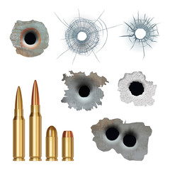 Bullets realistic. Damaged cracked gun holes surfaces and bullets different caliber armor rifles vector collection. Illustration damage from gun weapon, crack of bullet