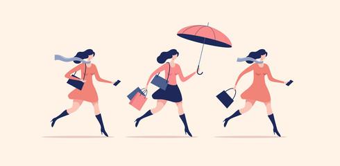 Set of women walking or running. Seasonal and holiday shopping. Vector illustration. Wall mural