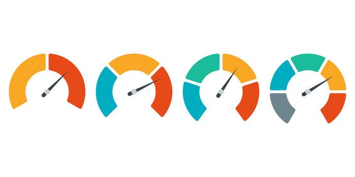 Speedometer icon set. Gauge or meter indicator. Vector illustration.