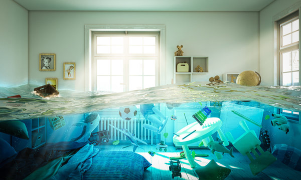 flooded bedroom full of toys floating in the water.