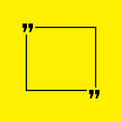 Quotation blank template in quotes isolated on Yellow. Creative banner illustration with blank quotation frame with quotes Minimalistic modern empty template typography design for wisdom or motivation