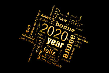 2020 new year multilingual golden text word cloud square greeting card on black background