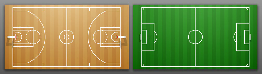 Design banner illustration layout championship greeting card above Football and basketball field. card above Realistic soccer and basketball field. classic football playground postcard