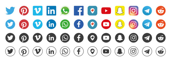 Facebook, Twitter, Instagram, Youtube, Snapchat, Pinterest, Whatsapp, Reddit, Telegram, Linkedin, Periscope, Vimeo - Collection of popular social media logo. Realistic set. Vector editorial