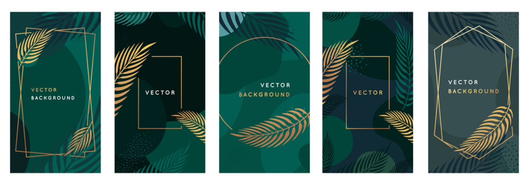 Vector design template in simple modern style with copy space for text and palm leaves  - wedding invitation backgrounds and frames, social media stories wallpapers