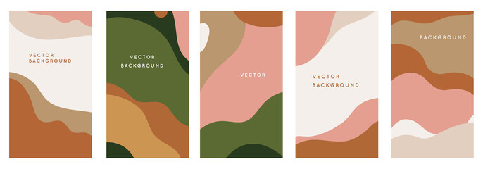 Vector set of abstract creative backgrounds in minimal trendy style with copy space for text - design templates for social media stories Fotomurales