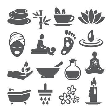 Spa icons set on white background
