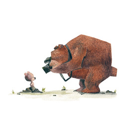 A bear photographing a little son. Watercolor drawing.
