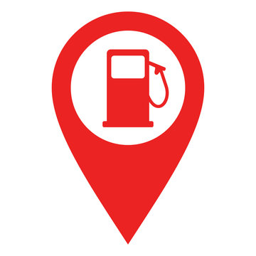 Tankstelle und Kartenmarkierung