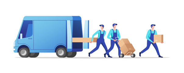Delivery service and logistics. Movers unloading cardboard boxes from van. Vector illustration.