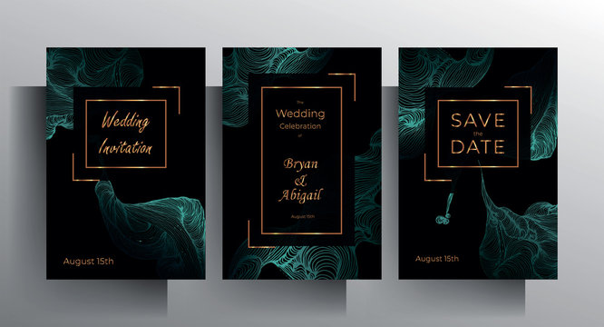 Design wedding invitation template set. Turquoise texture elements and golden frames on a black background are hand-drawn. Vector 10 EPS.
