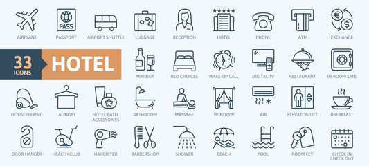 Hotel elements - thin line web icon set. Outline icons collection. Simple vector illustration. Fototapete