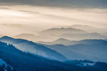 The Carpathians Rarau Mountains Romania landscape springtime clouds sunrise beautiful view