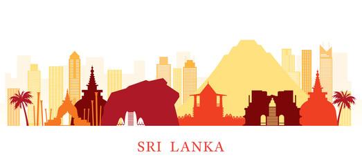 Sri Lanka Skyline Landmarks Colorful Silhouette Background Fototapete