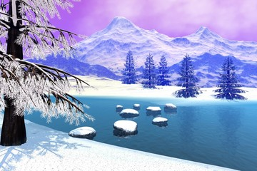 Mountain, a snowy landscape, stones in the river,  coniferous trees and a cloudy sky.