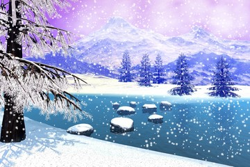 Snowfall, a winter landscape, stones in the river,  coniferous trees and a big mountain in the background.