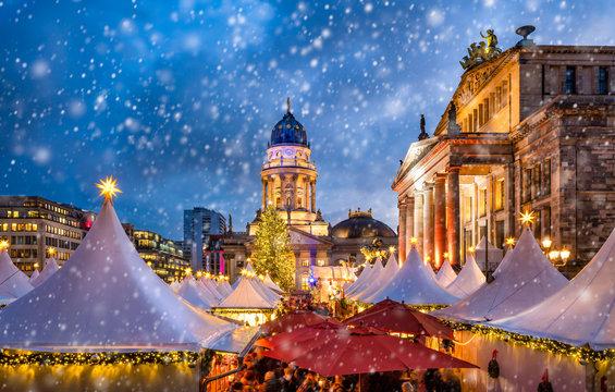Traditional German Christmas market at the Gendarmenmarkt square in Berlin
