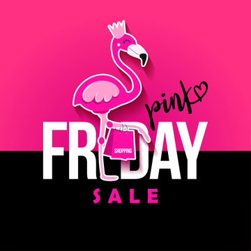 Pink Friday (Flamingo) Sale - Lettering Design Background. Hand drawn lettering card, background. Vector illustration for banner, discounting, posters, social media, or other printing.