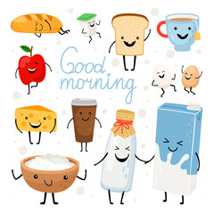 Dairy products kawaii flat vector illustrations set. Milk bottle, tea cup, cheese with cute smiling faces cliparts pack. Healthy breakfast meal ingredients. Fresh apple, yogurt design elements