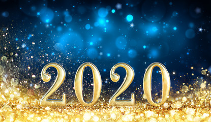Wall Mural - Happy New Year 2020 - Metal Number With Golden Glitter In Shiny Night