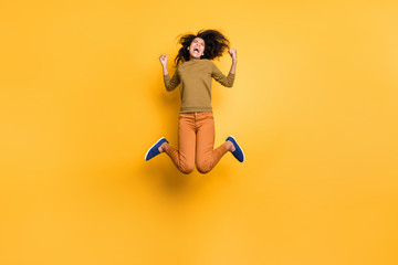 Full length body size photo of cheerful excited ecstatic positive cute curly wavy girlfriend...