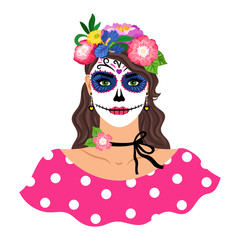 Woman with sugar skull make up vector illustration. Girl with flowers wreath isolated on white background. Dia de los muertos holiday carnival. Female character with Mexican Catrina makeup