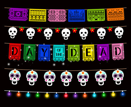 Day of Dead, Dia de los muertos, party decorations vector. Traditional garlands isolated pack. Glowing color lamps, sugar skull hanging on string design element. Mexican traditional holiday clipart