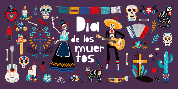 Day of Dead, Dia de los muertos, flat vector illustrations set. Sugar mexican skulls, skeletons in mexican traditional clothes. Cat, cactus, candle isolated cliparts. Holiday stickers, patches pack