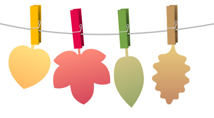 Autumn leaves, blank colored paper leaves to be labeled, fixed with clothes pins on a clothes line rope. Isolated vector illustration on white background.
