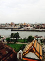 Panoramic View of Chao Phraya River from Thai Temple in Bangkok